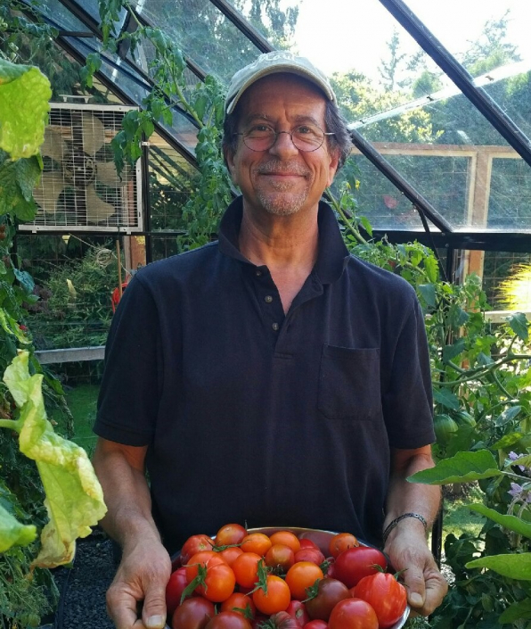 Brian with greenhouse harvest